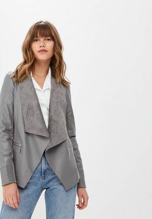 Куртка кожаная Wallis WA007EWCLON5. Цвет: серый
