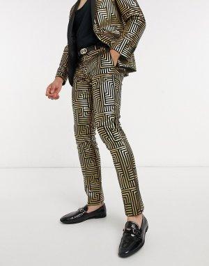 Брюки от костюма из черного бархата с фольгированным золотистым геометрическим принтом -Золотой Twisted Tailor