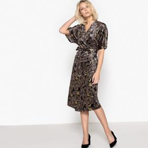 5afd443a1d4 Платье-кимоно из велюра с рисунком LA REDOUTE COLLECTIONS. Цвет  рисунок фон