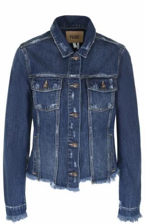 Джинсовая куртка с потертостями Paige. Цвет: голубой