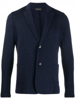 Трикотажный пиджак Roberto Collina. Цвет: синий