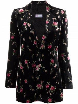 Однобортный пиджак с цветочным узором RED Valentino. Цвет: черный