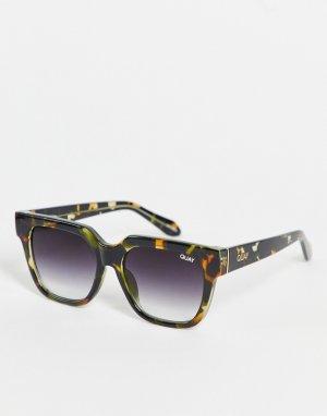 Квадратные солнцезащитные очки в стиле унисекс с камуфляжной оправой Quay PSA-Зеленый цвет Australia
