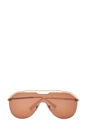 Очки-маска в графичной металлической оправе авиатор FENDI (sunglasses). Цвет: коричневый