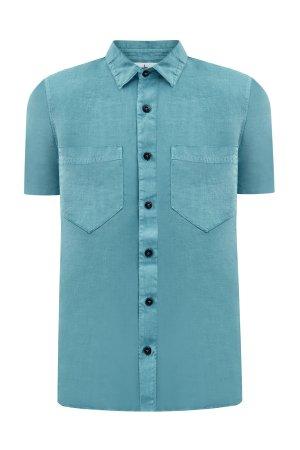 Легкая рубашка с короткими рукавами из льняной ткани Fissato STONE ISLAND. Цвет: бирюзовый