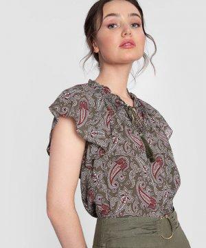 Блузка из принтованного шифона O`Stin. Цвет: оливковый