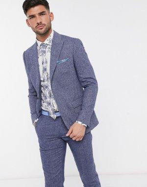 Синий пиджак узкого кроя с узором в елочку Moss London BROS