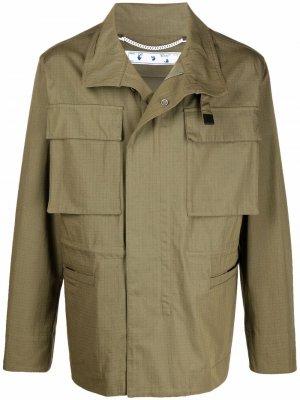 Куртка с логотипом Arrows Off-White. Цвет: зеленый