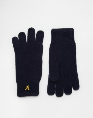 Перчатки в рубчик Lyle & Scott. Цвет: темно-синий