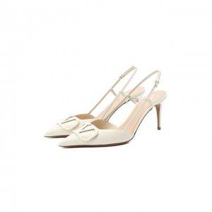 Кожаные туфли Garavani Vlogo Valentino. Цвет: белый