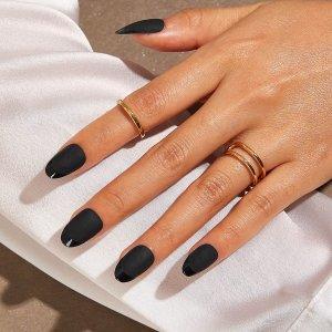 Однотонные матовые накладные ногти 24шт SHEIN. Цвет: чёрный