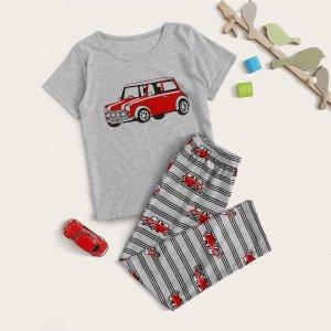 Пижама с принтом мультяшной машины для мальчиков SHEIN. Цвет: серые