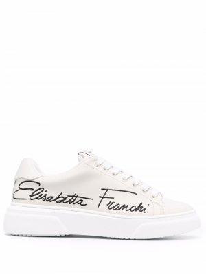 Кроссовки с вышитым логотипом Elisabetta Franchi. Цвет: нейтральные цвета