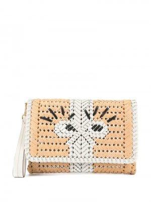 Плетеный клатч Anya Hindmarch. Цвет: коричневый