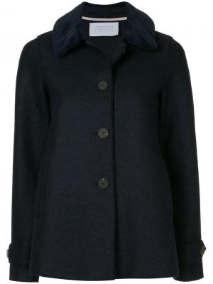 Loden faux fur trimmed jacket Harris Wharf London. Цвет: синий
