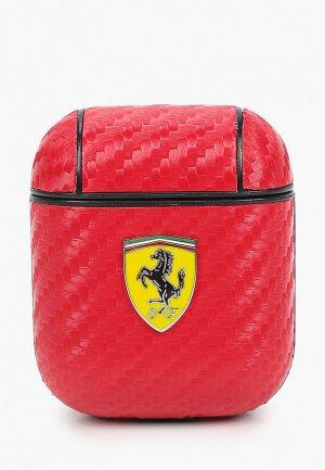 Чехол для наушников Ferrari Airpods, PU carbon effect with metal logo Red. Цвет: красный