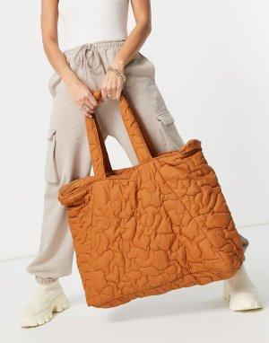 Большая коричневая стеганая сумка Femme-Коричневый цвет Selected