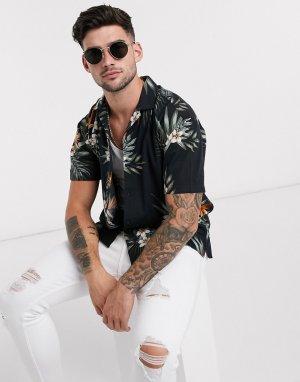 Черная рубашка с цветочным принтом Premium-Черный Jack & Jones