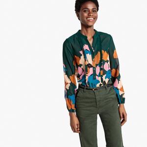 Блузка с воротником-стойкой, цветочным рисунком и небольшими воланами LA REDOUTE COLLECTIONS. Цвет: цветочный рисунок