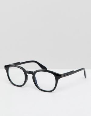 Черные очки с прозрачными стеклами в квадратной оправе Quay Australia. Цвет: черный