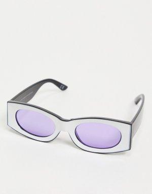 Квадратные солнцезащитные очки в белой оправе с фиолетовыми стеклами -Многоцветный ASOS DESIGN