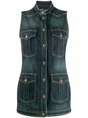 Джинсовая куртка без рукавов Chanel Pre-Owned. Цвет: синий