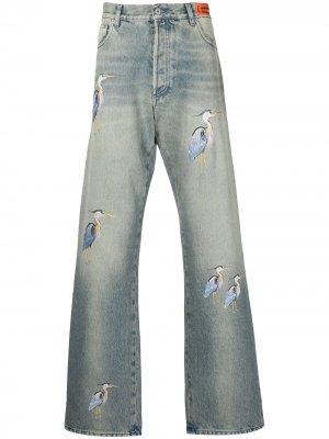Широкие джинсы с вышивкой Heron Preston. Цвет: синий