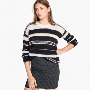 Пуловер в полоску с круглым вырезом из полушерстяной ткани MIWOODS SUD EXPRESS. Цвет: кремовый