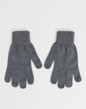Серые перчатки для сенсорных гаджетов -Серый ASOS DESIGN