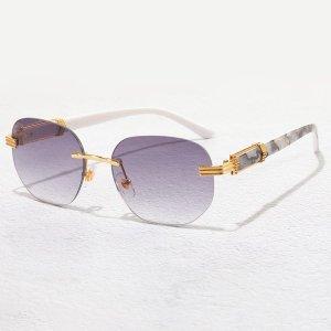 Мужские геометрические ссолнцезащитные очки без оправы SHEIN. Цвет: лиловый фиолетовый