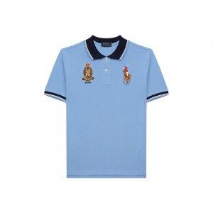 Хлопковое поло Polo Ralph Lauren. Цвет: синий