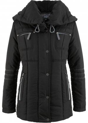 Стеганая куртка с большим воротником bonprix. Цвет: черный