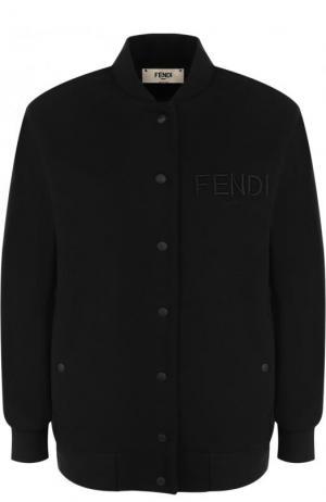 Однотонный хлопковый бомбер с логотипом бренда Fendi. Цвет: черный