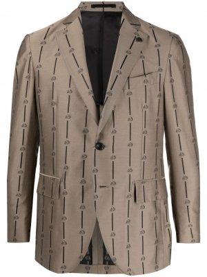 Однобортный пиджак с принтом Skull Gabriele Pasini. Цвет: нейтральные цвета