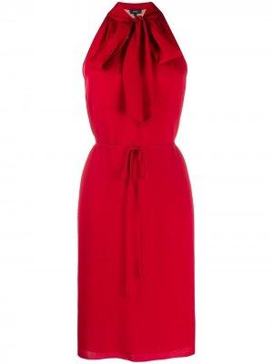 Платье с вырезом халтер и шарфом Theory. Цвет: красный