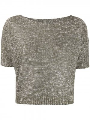 Metallic knitted cropped top Roberto Collina. Цвет: зеленый
