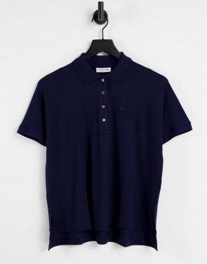 Темно-синяя футболка-поло в стиле oversized -Темно-синий Lacoste