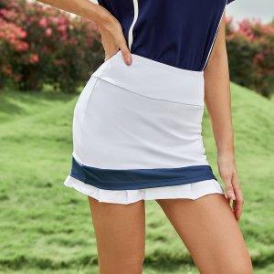 Юбка-шорты Контрастный дышащий мягкость спортивный SHEIN. Цвет: белый