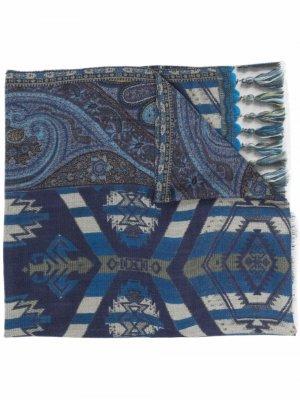 Шелковый шарф с узором пейсли ETRO. Цвет: синий