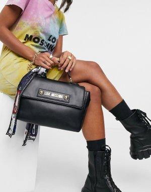 Черная сумка-портфель с шарфом -Черный Love Moschino