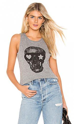 Майка painted skull Chaser. Цвет: серый