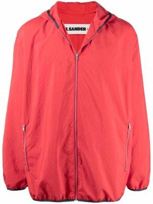 Легкая куртка с капюшоном Jil Sander. Цвет: красный