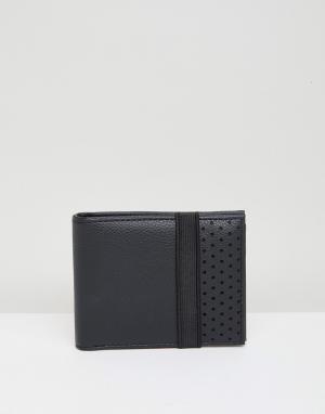 Черный бумажник с перфорацией и эластичным ремешком New Look. Цвет: черный