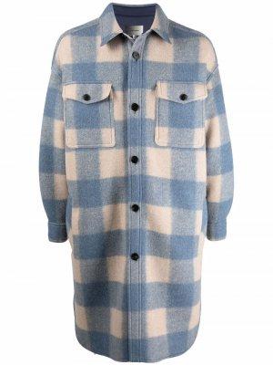 Клетчатое пальто миди Isabel Marant. Цвет: синий