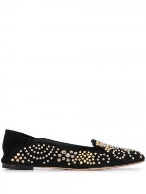Stud embellished square toe slippers Alexander McQueen. Цвет: черный