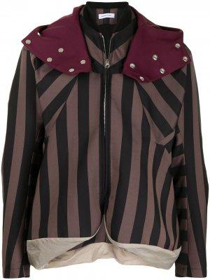 Полосатая куртка с капюшоном Kiko Kostadinov. Цвет: красный