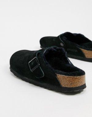 Черные клоги с меховой подкладкой Boston-Черный Birkenstock