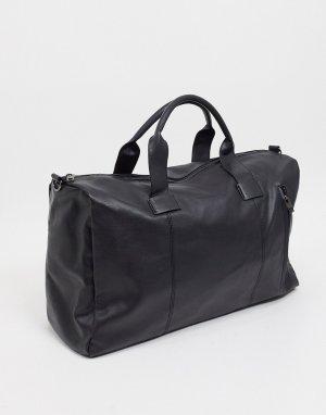 Черная классическая дорожная сумка из искусственной кожи -Черный French Connection