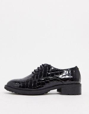 Черные кожаные броги с крокодиловым рисунком -Черный Dune