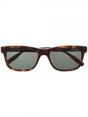 Солнцезащитные очки в прямоугольной оправе Montblanc. Цвет: коричневый
